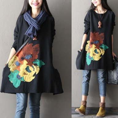big-flower-women-fall-tops-loose-t-shirt-casual-blouse-hoodie