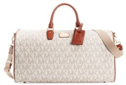 nwt-michael-kors-vanilla-khaki-signature-leather-weekender-carry-on-luggage-398-e2abf6af20ab04a6c5b639ad11207073